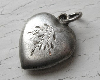 30's Sterling Silver Etched Puffy Heart Charm Wheat Spray Sprigs Vintage