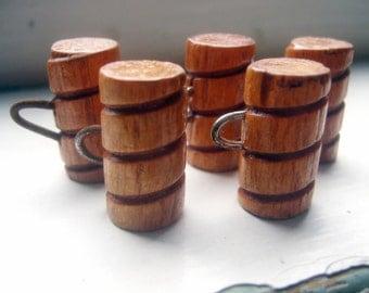 Vintage 50's Wooden Barrel Buttons