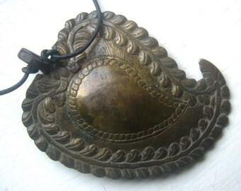 Antique Persian Paisley Brass Belt Buckle
