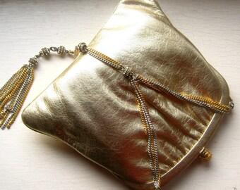 1950's  Morris Moskowitz Gold Lame Leather Purse w Rhinestone Chain Lavalier Tassle