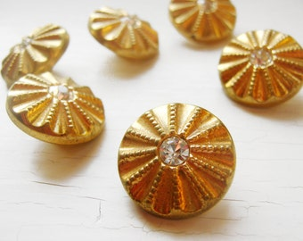 "Six 3/4""  Gold Metal & Rhinestone Vintage Glass Buttons"