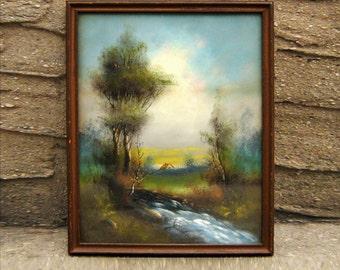 Original DeWitt Victorian Gouache Watercolor Painting Frame Antique Landscape Scenic 1890's