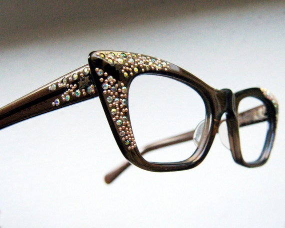 vintage 50 u0026 39 s square cat eye rhinestone eyeglass frames