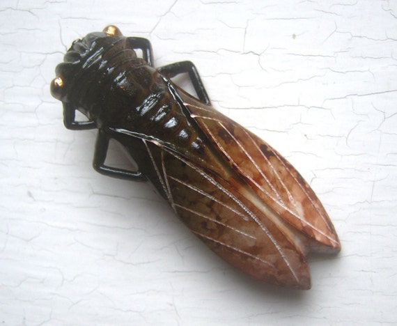 Vintage 1960's Lucky French Cicada Pin Brown Natural Camouflage Large