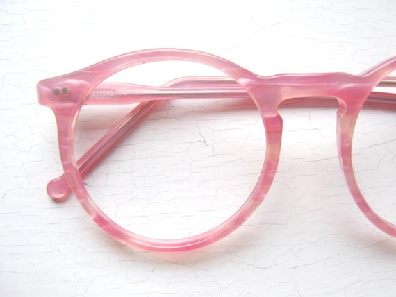 Eyeglass Frame Usa : 80s Colors in Optics Oversized Peabody Pink Pearlized