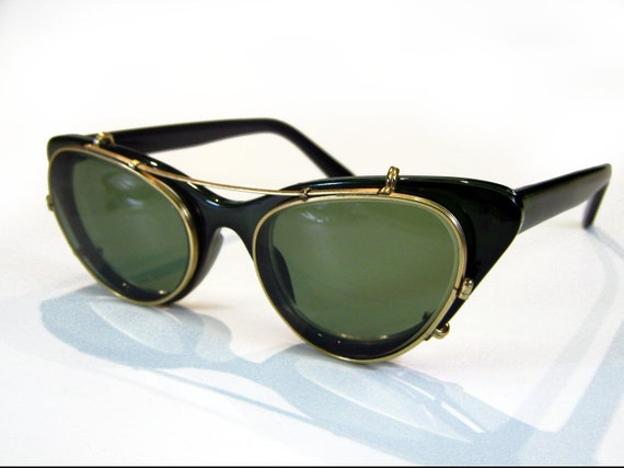 50's Ray Ban Cat Eye Clip On Steampunk Gold Gild Metal Frame Sunglasses Non RX Green Lenses
