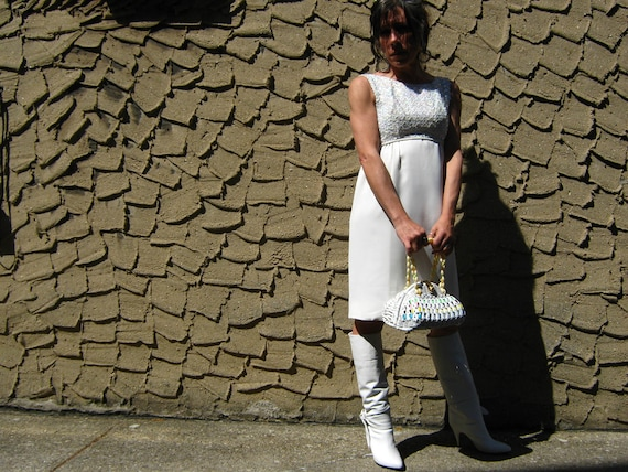 60's Sequin White Sheath Dress Empire Waist Small like a size 4 Franklin Simon NY
