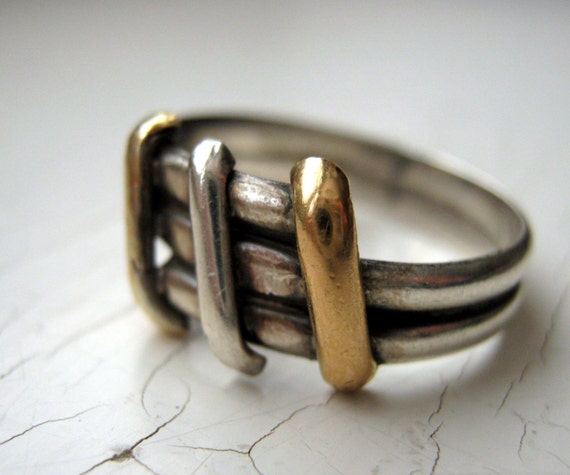 Vintage 1960's 18K Gold and Sterling Ring