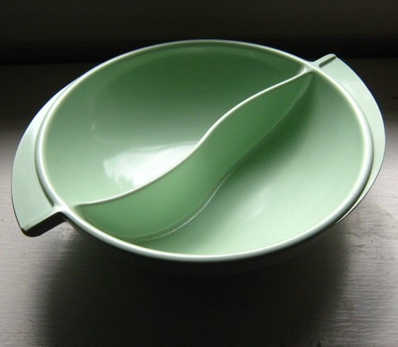 50's Boonton Divided Dish Mint Green Bowl Vintage