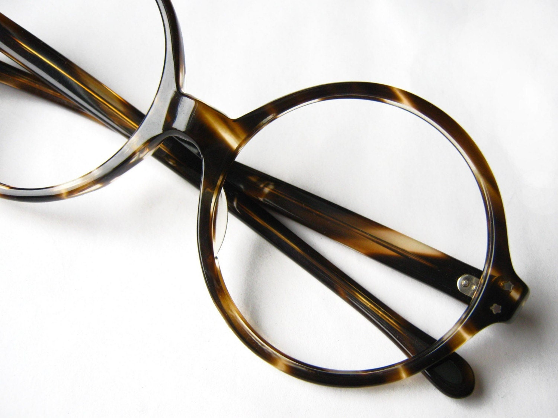 Large Round Vintage Tortoise Eyeglass Frames 1960s
