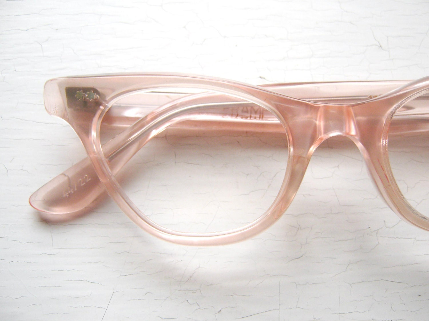 French 50s Cat Eye Eyeglass Frames Salmon Pink Icy
