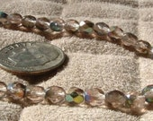 BEADS 5mm Vintage Czech Glass Crystal CLEAR  with Vitrail Metallic AB finish Fire Polish Bead (45) 1940s
