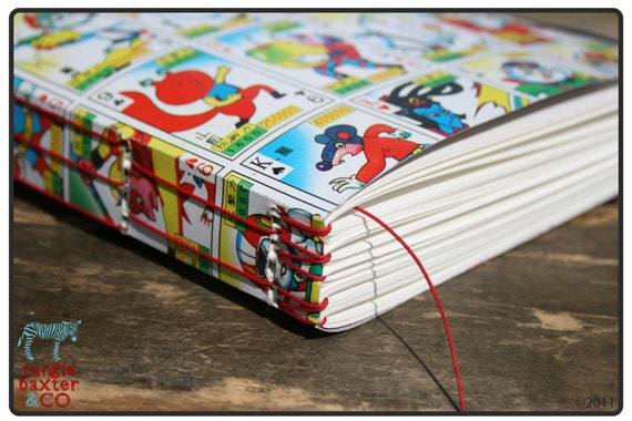 Hand Sewn, Asian Cards Journal with Watercolor Paper