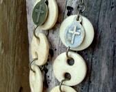 Religious Crucifix Bone Brass Earring Mexican Folk Art Religious Medeal Button Rustic Cross White Cream Native American Etsy stoneandbone
