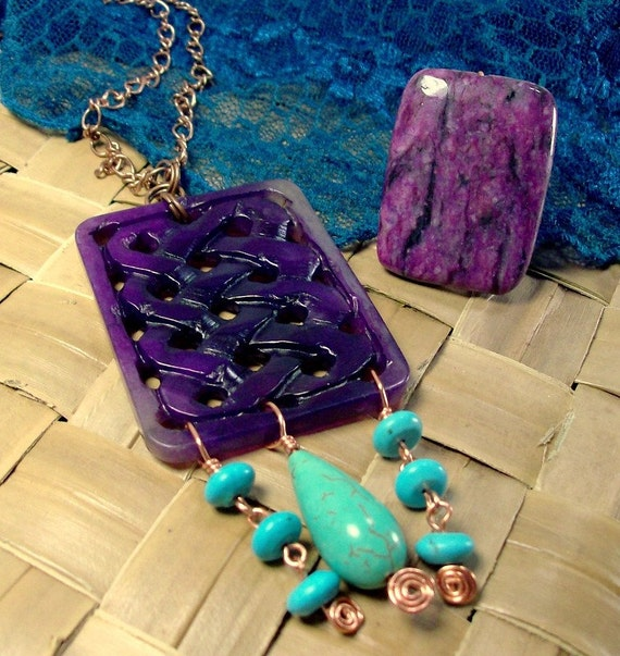 Purple Jade Necklace Turquoise Necklace Jade Pendent Copper Wire Wrap Asain Jewelry Tribal Asain Pendent stoneandboneEN38