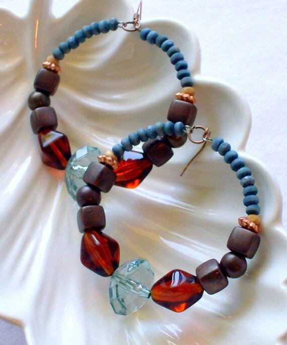 Blue and Brown Hoop Earrings Bohemian Ethnic Tribal Jewelry Wood Beaded Hawaii stoneandbone