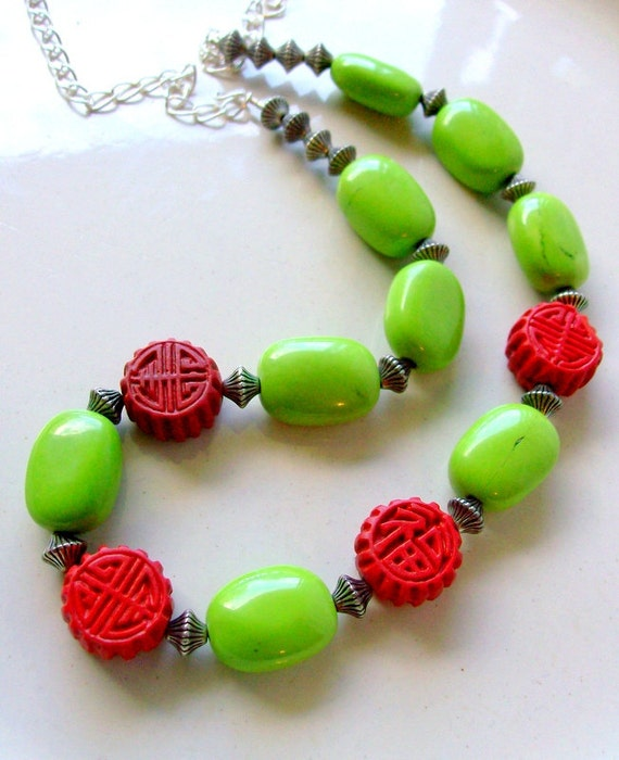 Cinnabar & Turquoise Silver Necklace - Asian - Long - Chunky Jewelry - stoneandbone