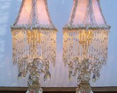 Pair of Romantic Jeweled Roses Chic Boudoir Accent Lamps