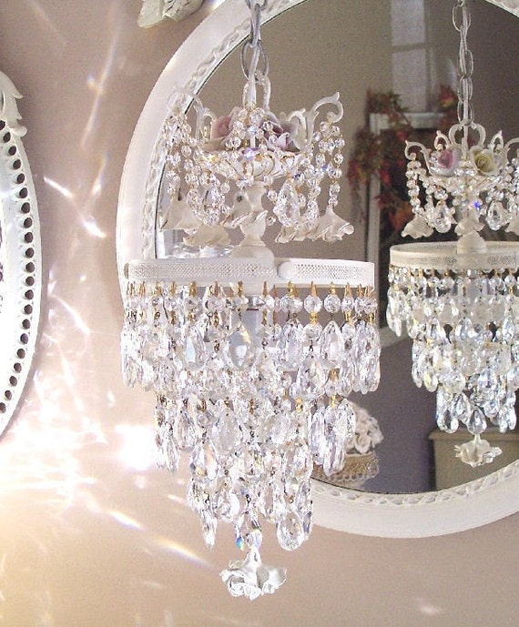 Romantic Crystal and Roses Wedding Cake Chandelier