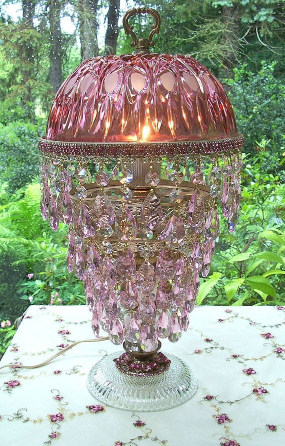 Vintage Jeweled Cranberry With Pink Crystal Waterfall Table