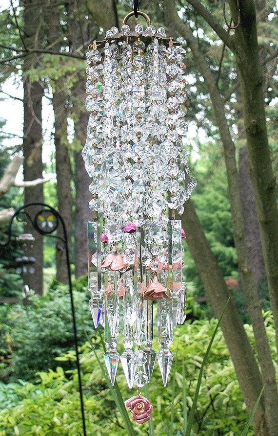 Rustic Roses Antique Crystal WInd Chime