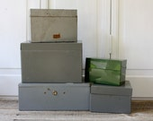 Vintage Industrial Metal Boxes with Brass Stencils - A Set of Five