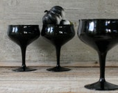 Vintage Black Goblets - Set of Three