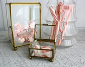Vintage Brass and Glass Display Cases - Set of Two