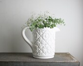 Ridiculously Heavy Vintage Milk Glass Pitcher - Cut Glass