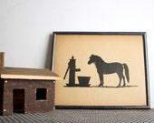 Vintage Silkscreened Horse Silhouette