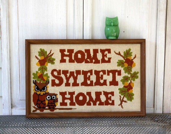 Vintage Home Sweet Home Needlepoint Framed by ...