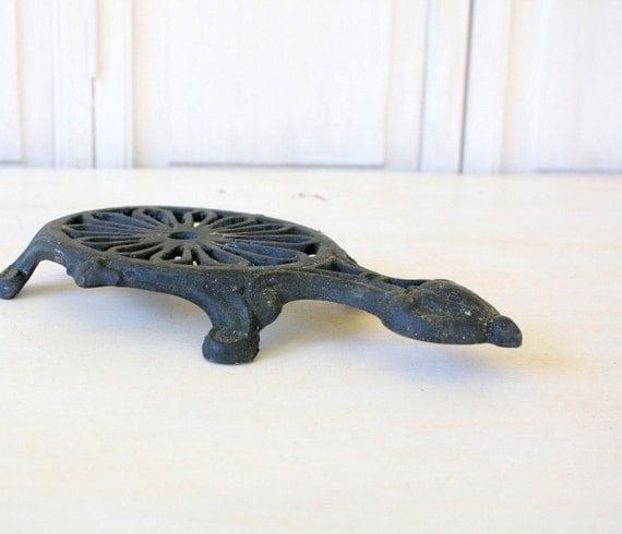 Vintage Cast Iron Metal Trivet - Turtle or Tortoise