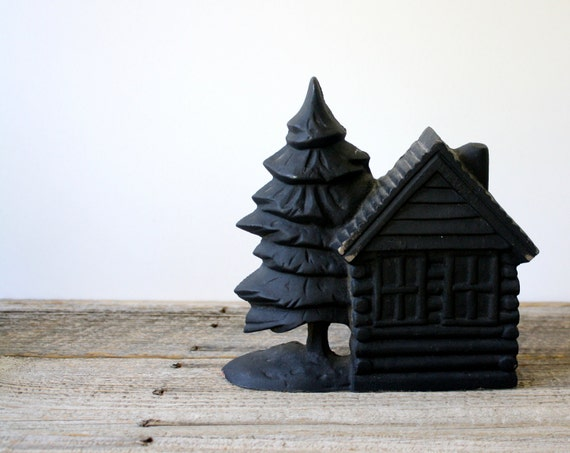 Vintage Cast Iron Door Stop Log Cabin And By Shavingkitvintage