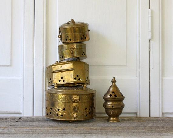 Four Vintage Brass Cricket Boxes and Incense Burner