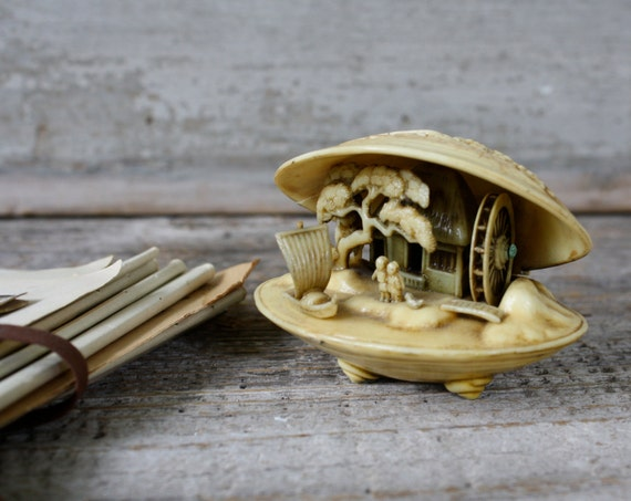 Antique Carved Celluloid Scene in a Shell