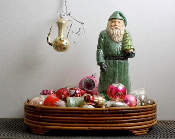 Vintage Mercury Glass Christmas Ornament - Coffee Pot