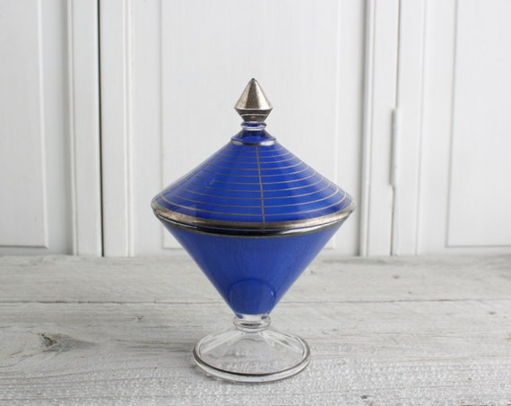 Vintage Cobalt and Silver Footed Dish with Lid