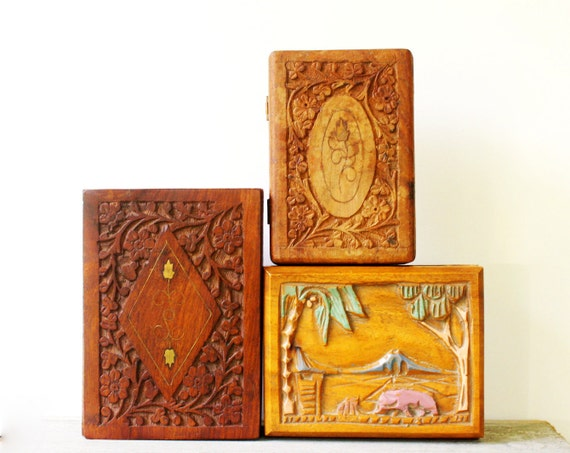 Carved Rosewood Boxes - Set of Three - India - Instant Collection