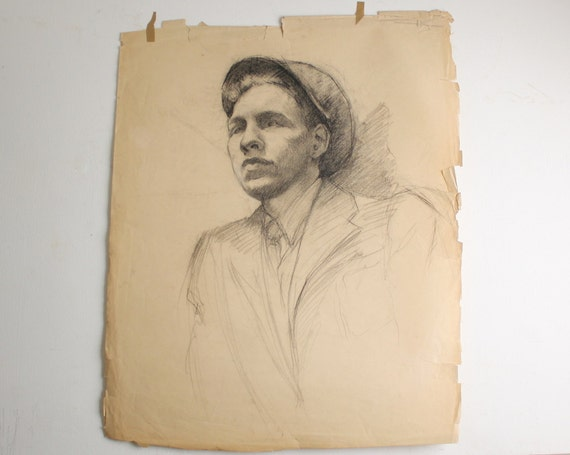 Large Antique Art School Charcoal Sketch  - 1930s