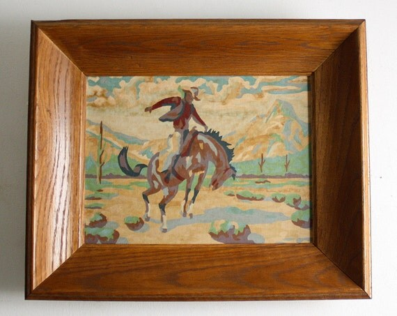 Vintage Paint by Number Framed Cowboy Paintings - Set of Two