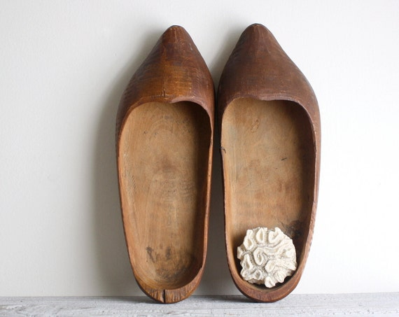 Vintage Primitive Hand Carved Dutch Clogs - Sabots - Wooden Shoes