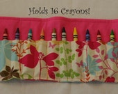 CRAYON CADDY ROLL-Holds 16 Crayons-Flowers and Butterflies Print