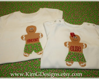 CHRISTMAS Gingerbread Boy Appliqué tee-with personalization