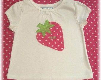 Strawberry Applique T shirt-with personalization-hot pink and green-great for summer