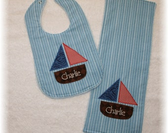SAILBOAT Gift Set-Includes Appliqued Bib and Burp Cloth with name