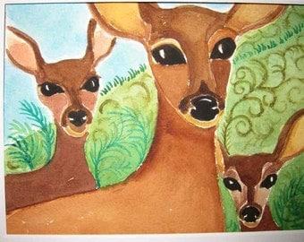 Original Watercolor of Mama Deer with Babies
