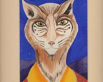 Original Watercolor of Bob Cat 2
