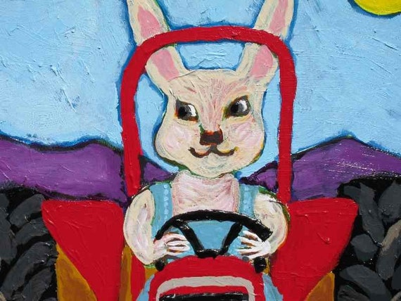 Framed Original Acrylic Painting of Rabbit in a Tractor