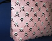 Zippered Cosmetic Pouch- Pink Quilt Pirate Michael Miller