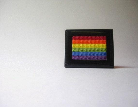 Tiny rainbow cross stitch
